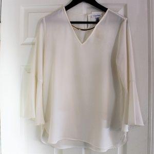 White Calvin Klein Flared Blouse
